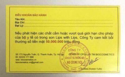 Thẻ bảo hành son kem with lips